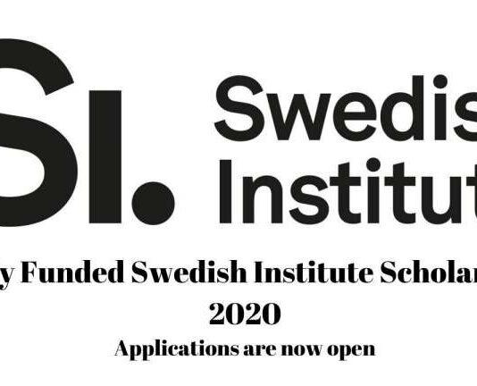 Swedish Institute Scholarship 2020